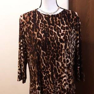 Jackie O' leopard lounge dress robe sz XL